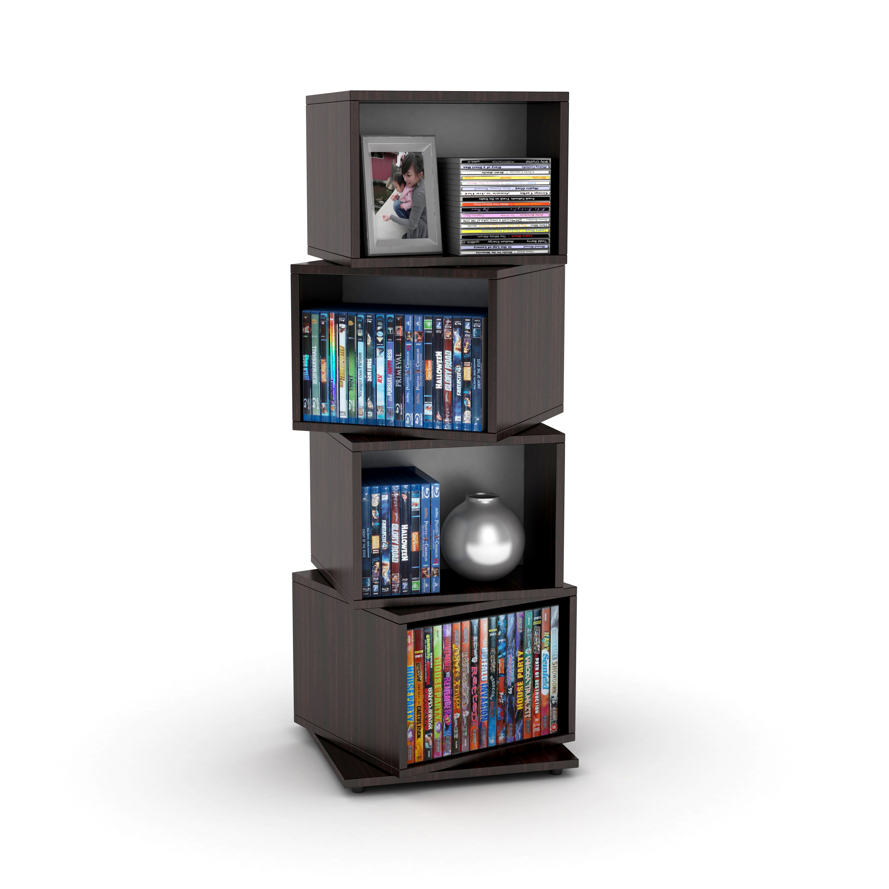 Entryway Bookcase Rotating Cube 216 Disc Media Tower In Espresso