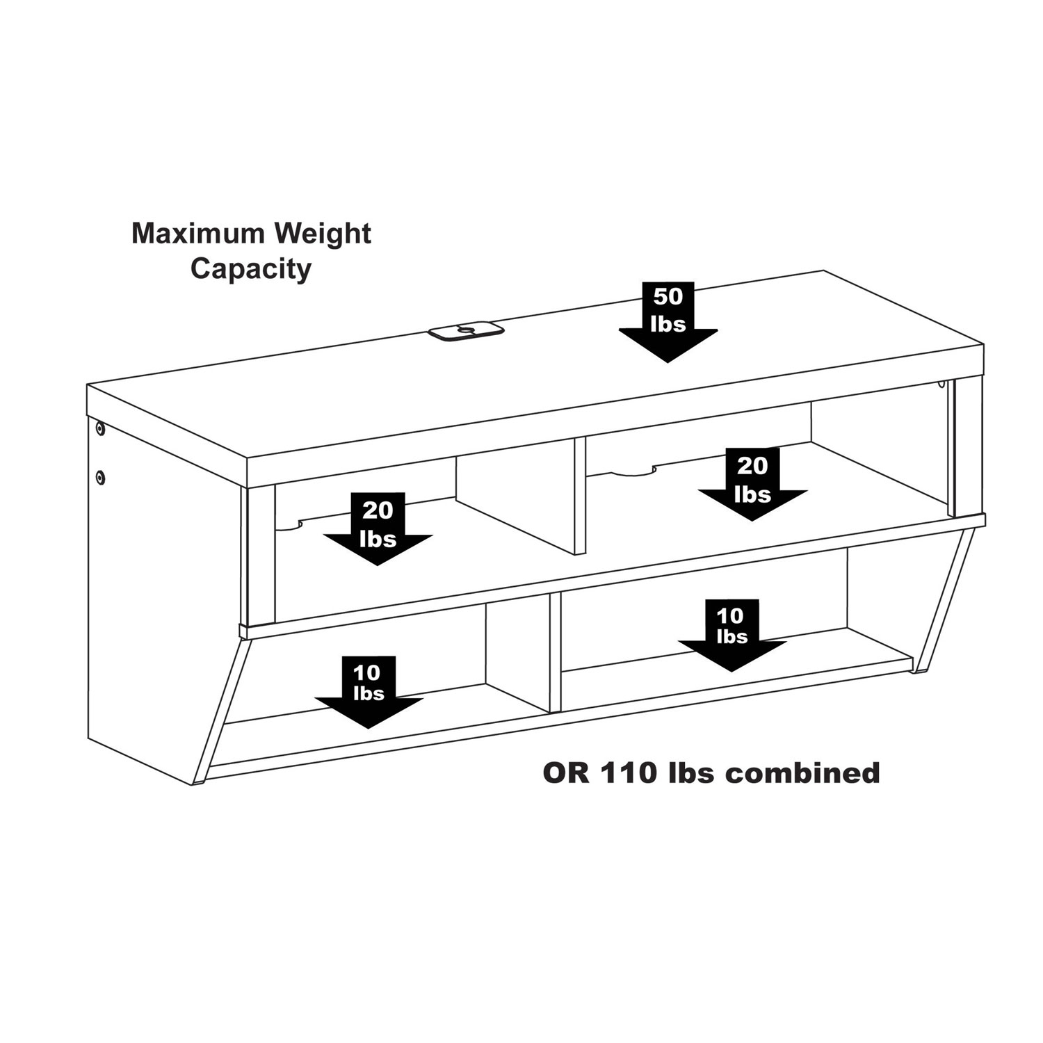 Espresso 42 Inch Wide Wall Mounted Entertainment Console