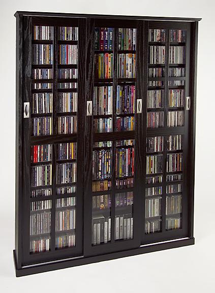 Glass Sliding 3 Door Mission Media Cabinet With Hardwood