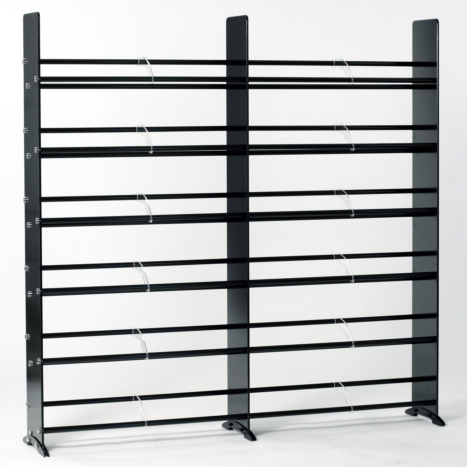 sc 1 st  CD Rack Shoppe & Black Tempered Glass Multimedia Double Storage Rack