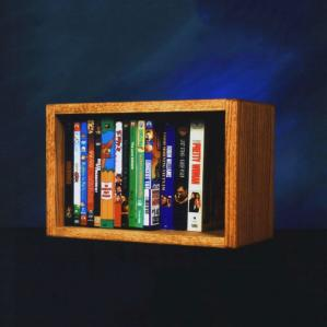 Solid Oak Desktop Or Shelf DVD/ Vhs Cabinet