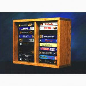 SOLD Solid Oak Shelf DVD Cabinet (Individual Locking Slots)