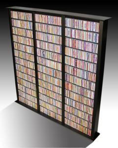 Media Storage Tower-Tall Triple black