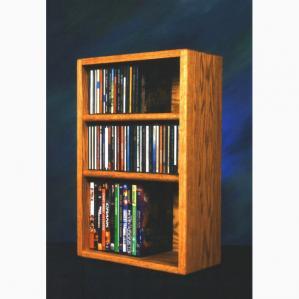 Solid Oak Desktop Or Shelf For Cd'S And DVD'S/ Vhs Tapes