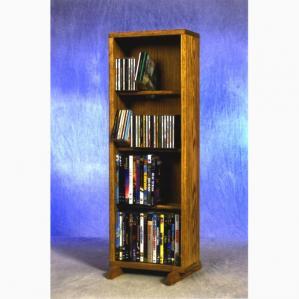 SOLD Solid Oak 4 Row Dowel Cd/DVD Cabinet Tower