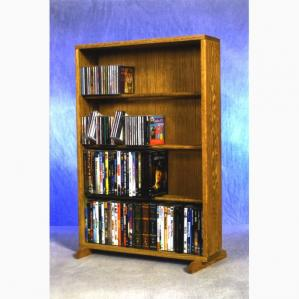 SOLD Solid Oak 4 Row Dowel Cd/DVD Cabinet Tower