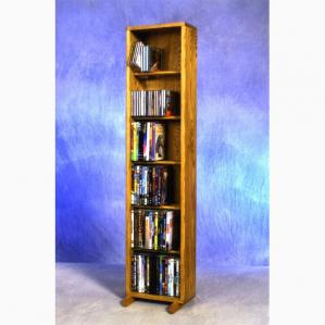SOLD Solid Oak 6 Row Dowel Cd/DVD Cabinet Tower