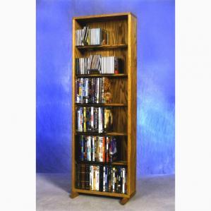 SOLD Solid Oak 6 Row Dowel Cd/DVD Cabinet Tower
