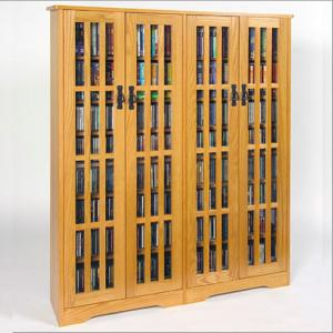 Double-Wide, Tall Mission Media Cabinet, Glass Doors