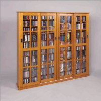 Leslie Dame Glass 4-Door Multimedia Storage Cabinet