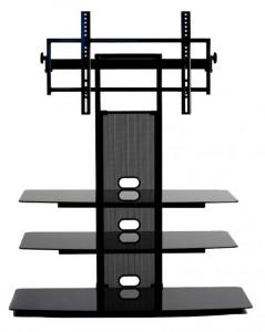 Flat Panel TV Mounting System With 3 Av Component Shelves